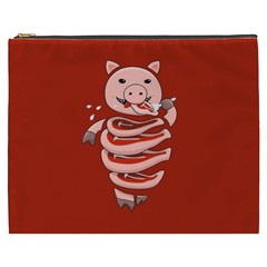 Red Stupid Self Eating Gluttonous Pig Cosmetic Bag (xxxl)  by CreaturesStore
