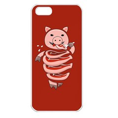 Red Stupid Self Eating Gluttonous Pig Apple Iphone 5 Seamless Case (white) by CreaturesStore