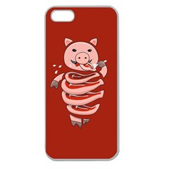 Red Stupid Self Eating Gluttonous Pig Apple Seamless Iphone 5 Case (clear) by CreaturesStore
