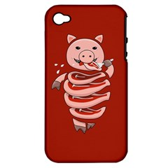 Red Stupid Self Eating Gluttonous Pig Apple Iphone 4/4s Hardshell Case (pc+silicone) by CreaturesStore