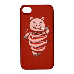 Red Stupid Self Eating Gluttonous Pig Apple Iphone 4/4s Hardshell Case With Stand by CreaturesStore
