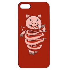 Red Stupid Self Eating Gluttonous Pig Apple Iphone 5 Hardshell Case With Stand by CreaturesStore