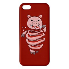 Red Stupid Self Eating Gluttonous Pig Apple Iphone 5 Premium Hardshell Case by CreaturesStore