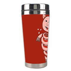 Red Stupid Self Eating Gluttonous Pig Stainless Steel Travel Tumblers by CreaturesStore