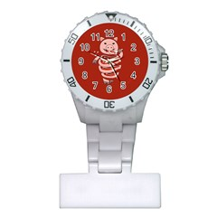Red Stupid Self Eating Gluttonous Pig Plastic Nurses Watch by CreaturesStore
