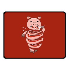 Red Stupid Self Eating Gluttonous Pig Double Sided Fleece Blanket (small)  by CreaturesStore