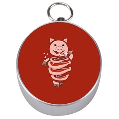 Red Stupid Self Eating Gluttonous Pig Silver Compasses by CreaturesStore