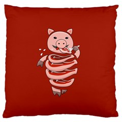 Red Stupid Self Eating Gluttonous Pig Standard Flano Cushion Case (two Sides) by CreaturesStore