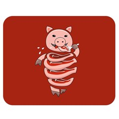 Red Stupid Self Eating Gluttonous Pig Double Sided Flano Blanket (medium)  by CreaturesStore