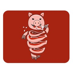 Red Stupid Self Eating Gluttonous Pig Double Sided Flano Blanket (large)  by CreaturesStore