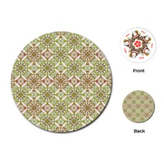 Colorful Stylized Floral Boho Playing Cards (round)  by dflcprints