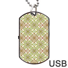 Colorful Stylized Floral Boho Dog Tag Usb Flash (one Side) by dflcprints