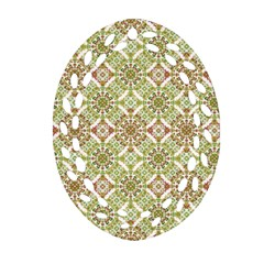 Colorful Stylized Floral Boho Oval Filigree Ornament (two Sides) by dflcprints