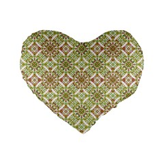 Colorful Stylized Floral Boho Standard 16  Premium Flano Heart Shape Cushions by dflcprints