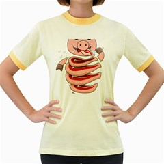 Stupid Gluttonous Self Eating Pig Women s Fitted Ringer T Shirts by CreaturesStore