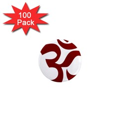Hindu Om Symbol (dark Red) 1  Mini Magnets (100 Pack)  by abbeyz71