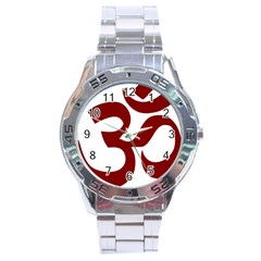 Hindu Om Symbol (dark Red) Stainless Steel Analogue Watch by abbeyz71