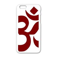 Hindu Om Symbol (dark Red) Apple Iphone 6/6s White Enamel Case by abbeyz71