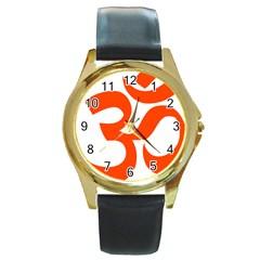 Hindu Om Symbol (orange) Round Gold Metal Watch by abbeyz71