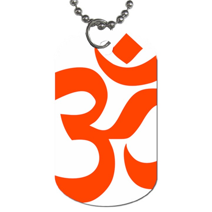 Hindu Om Symbol (Orange) Dog Tag (One Side)