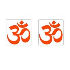 Hindu Om Symbol (orange) Cufflinks (square) by abbeyz71