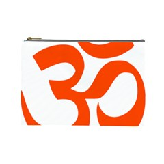 Hindu Om Symbol (orange) Cosmetic Bag (large)  by abbeyz71