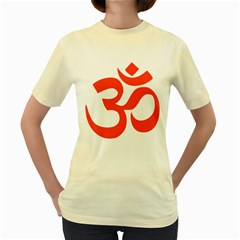 Hindu Om Symbol (orange) Women s Yellow T Shirt by abbeyz71