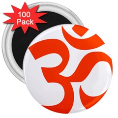 Hindu Om Symbol (orange) 3  Magnets (100 Pack) by abbeyz71