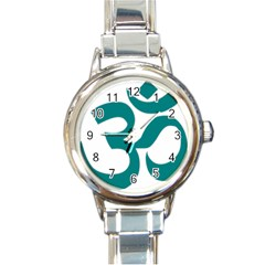 Hindu Om Symbol (teal) Round Italian Charm Watch by abbeyz71