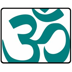 Hindu Om Symbol (teal) Double Sided Fleece Blanket (medium)  by abbeyz71