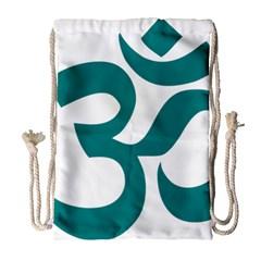 Hindu Om Symbol (teal) Drawstring Bag (large) by abbeyz71