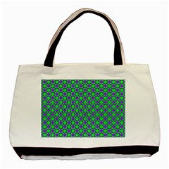 Friendly Retro Pattern A Basic Tote Bag by MoreColorsinLife