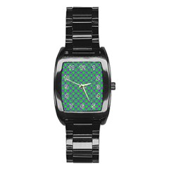 Friendly Retro Pattern A Stainless Steel Barrel Watch by MoreColorsinLife