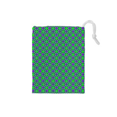 Friendly Retro Pattern A Drawstring Pouches (small)  by MoreColorsinLife