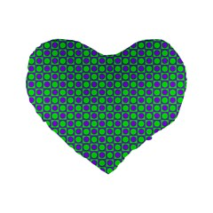 Friendly Retro Pattern A Standard 16  Premium Flano Heart Shape Cushions by MoreColorsinLife