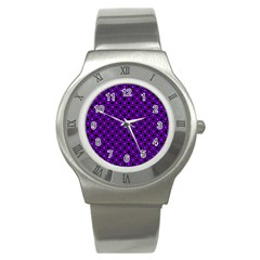 Friendly Retro Pattern B Stainless Steel Watch by MoreColorsinLife