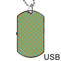 Friendly Retro Pattern D Dog Tag Usb Flash (one Side) by MoreColorsinLife