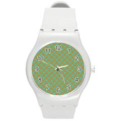 Friendly Retro Pattern D Round Plastic Sport Watch (m) by MoreColorsinLife
