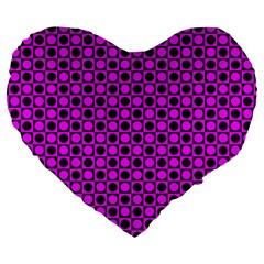 Friendly Retro Pattern G Large 19  Premium Flano Heart Shape Cushions by MoreColorsinLife