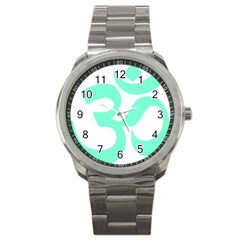 Hindu Om Symbol (cyan Blue) Sport Metal Watch by abbeyz71