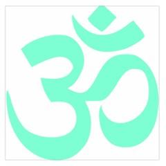 Hindu Om Symbol (cyan Blue) Large Satin Scarf (square) by abbeyz71