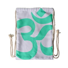 Hindu Om Symbol (cyan Blue) Drawstring Bag (small) by abbeyz71