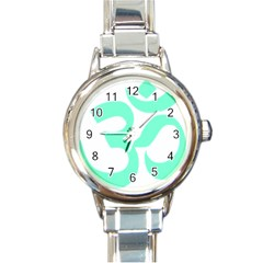 Hindu Om Symbol (cyan Blue) Round Italian Charm Watch by abbeyz71