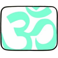 Hindu Om Symbol (cyan Blue) Fleece Blanket (mini) by abbeyz71