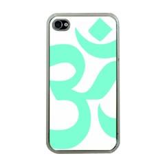 Hindu Om Symbol (cyan Blue) Apple Iphone 4 Case (clear) by abbeyz71