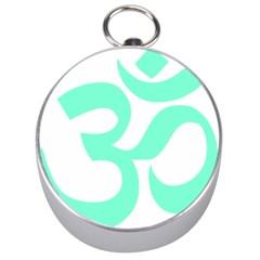 Hindu Om Symbol (cyan Blue) Silver Compasses by abbeyz71
