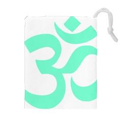 Hindu Om Symbol (cyan Blue) Drawstring Pouches (extra Large) by abbeyz71