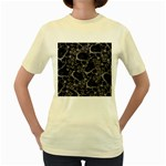 Skulls pattern Women s Yellow T-Shirt
