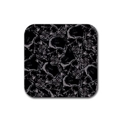 Skulls Pattern Rubber Square Coaster (4 Pack)  by ValentinaDesign