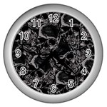 Skulls pattern Wall Clocks (Silver)